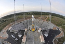 Russia's Soyuz VS01 rocket sits on its launching pad, Wednesday, Oct. 19, 2011, in the space base of Kourou, French Guiana . Image: European Space Agency.