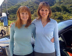 Ford's Elizabeth Baron (right) with her driving double during the commercial shoot in Thousand Oaks, Calif.