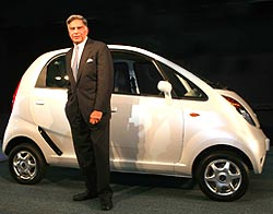 Mr. Tata at the launch of the Nano