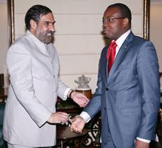 The minister of industry & commerce, Mozambique, Armando Inroga meeting the union minister for commerce and industry, Anand Sharma, in New Delhi.