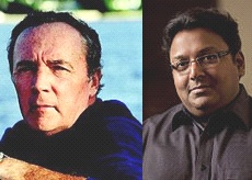 Fiction writer James Patterson (L) and Ashwin Sanghi