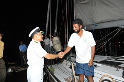 Vice Adm Shekhar Sinha, then C-in-C, Western Naval Command, receives me at the end of the voyage on 31 Mar 2013. The reception was a quiet one at night so that secrecy of my arrival could be maintained until the Presidential Reception on 6 April